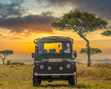 Safari Jeep in Kenya at Sunset