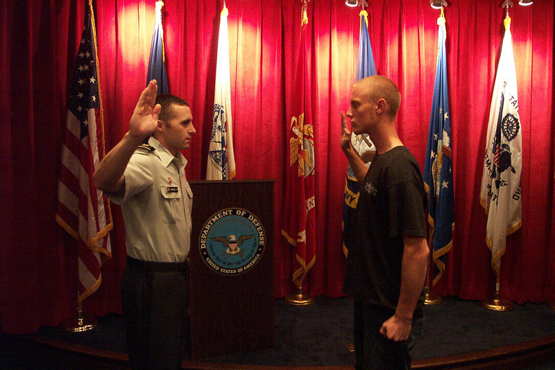 Eric being sworn into the United States Navy.  September 27, 2005.