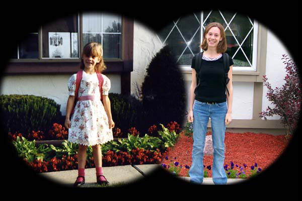 Jamie on her first day of Kindergarten and the last day of high school.