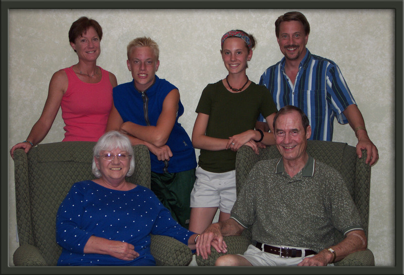 Sharon and Joe Konopik (Pam's parents) with Pam, Eric, Jamie, and Dave.  Summer, 2002.