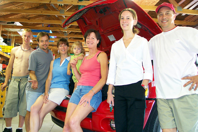 Eric, Roger, Stacy, Emma, Pam, Jamie, and Dave.  This was the day Eric and Roger installed a K&N air system on the Dodge Ram.  July, 2004.