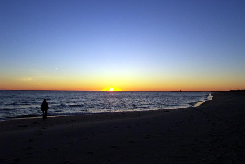 Jamie on the Lake Michigan beach near Ludington.  Summer, 2001.