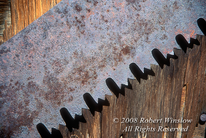 Detail of a handsaw on the side of an old barn, Silverton, Colorado
