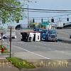 Overturned tractor trailer in Melville