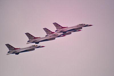 The Thunderbirds flying in formation