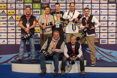 Media Ingo Kwiat, Boris Teofanovic, Klaus Mueller, Christian Schiessl, Nils Klever, Buf Vaumant, Chrisitan Fidler, IJF Grand Prix Dusseldorf, Germany. (Photo by Christian Fidler)