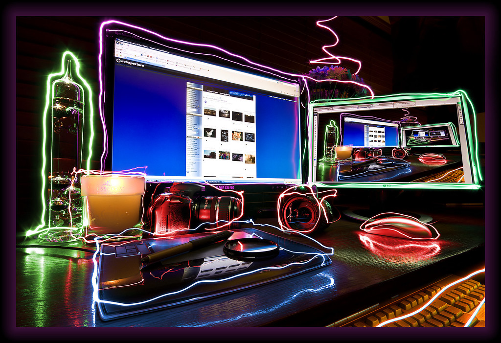 Neon Workspace II<br /> Effects created in camera, multiple exposures