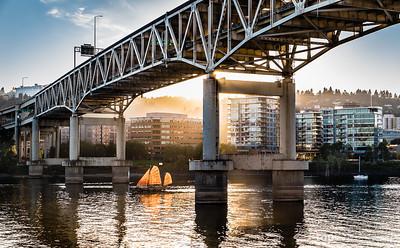 Sail boat on Willamette River under Marquam Bridge in Portland taken during 2013 Worldwide Photo Walk.