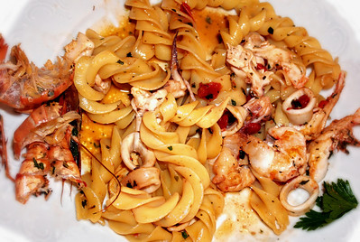 Colonni al frutti del mare Spirals with seafood at a local restaurant we frequent.