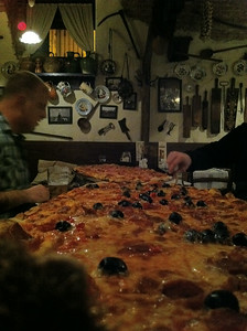 Exploring Budapest, Hungary The meter-long pizzas dwarf Chippoke at Rustico Étterem!