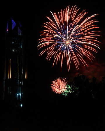 Fireworks over the Millennium Carillon in the Moser Tower, Naperville, Illinois - 2011