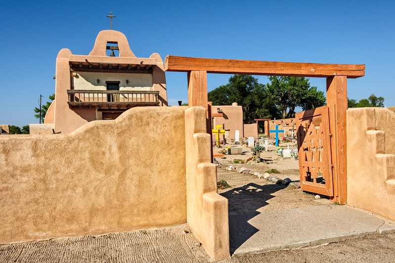 Church and Cemetery at San Ildefonso Pueblo, New Mexico