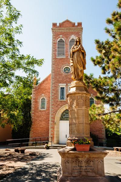 Statue of Our Lady of Lourdes and San Juan Bautista Parish Church, San Juan Parish, Ohkay Owingeh Pueblo, New Mexico