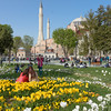 Weekend crowds enjoy the beautiful tulips in the Hippodrome beside the Blue Mosque.<br /> April beauty in Istanbul.