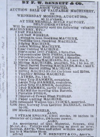 1867 08 26 The Baltimore Sun Auction Ad Aug 26, 1867