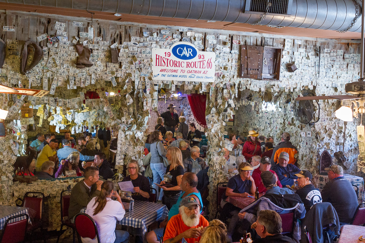 The restaurant in the Oatman Hotel. Big thing here is to sign a dollar bill and then staple it to the wall or ceiling. Currently there is over $100,000 there.