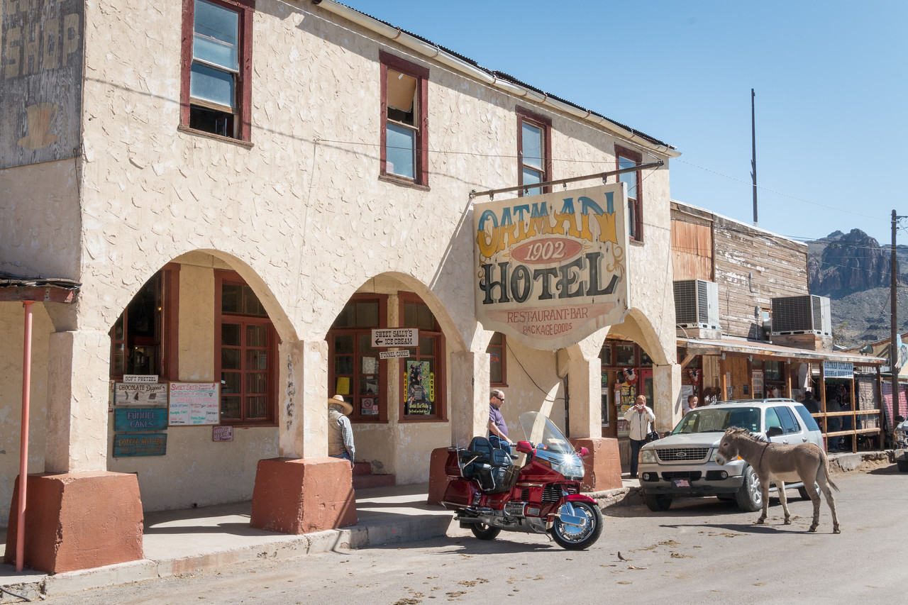 The Drulin Hotel, built in 1902, did a lot of business with the area miners. Renamed the Oatman Hotel in the 1960's, it is the only historic two story adobe building in Mohave County. Guests no longer stay here but there is a museum on the top floor and a bar and restaurant on the bottom floor.
