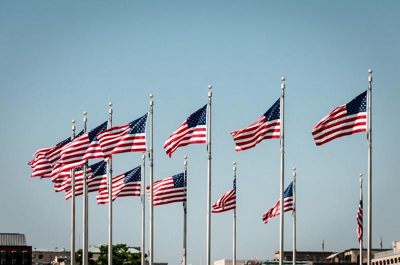Flags around Washington Monument, The Mall, Washiungton DC