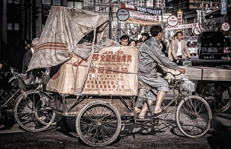 CN-SH-000039.psd - Heavily Laden Tricycle Making Local Deliveries, Nanjing Road, Shanghai