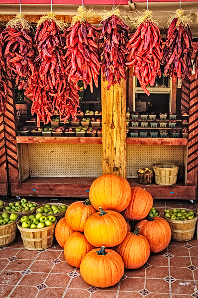 Pumpkins at a Roadside Stand, Velarde, New Mexico