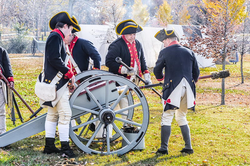 Continental Army Artillery Reenactors firing cannon, Fort Mercer, Red Bank, New Jersey