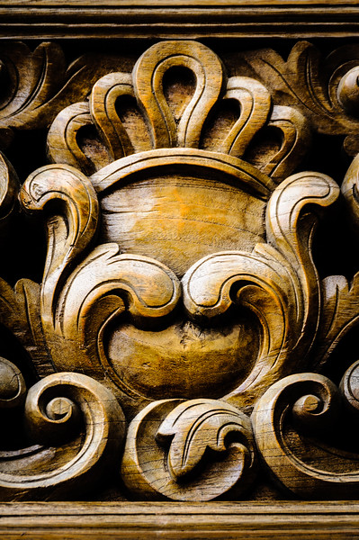 Ornate wooden relief carving, Quinn's Auction House, Falls Church, Virginia