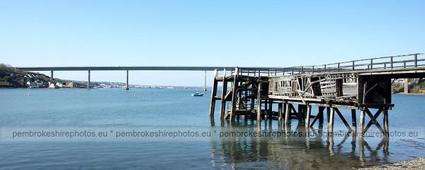 Burton Ferry, Cleddau Bridge in the background.