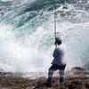 Sea fishing near Stack Rocks, Pembroke, Wales