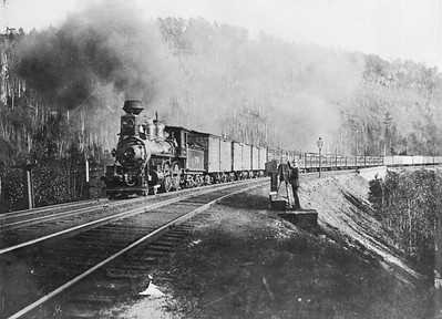 2014.022.23--pauline macdougall collection 8x10 mounted print--unknown road--steam locomotive 4-4-0 738 on freight train action--location unknown--no date. Built by Rhode Island, renumbered to 738 in 1900. Class C-31.