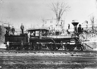 2014.022.18--pauline macdougall collection 8x10 mounted print--unknown road--steam locomotive Indiana--location unknown--no date. Built 1878.