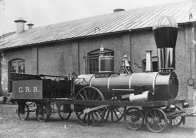 2014.022.14--pauline macdougall collection 8x10 mounted print--CRR--steam locomotive 4-2-0 Amoskeag (replica)--location unknown--no date. Original built in 1842.