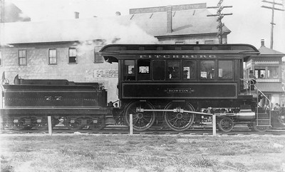 2014.022.30--pauline macdougall collection 8x10 mounted print--Fitchburg RR--steam inspection locomotive 4-4-0 77 Boston--location unknown--no date. Rebuilt from engine 77. Later became B&M.