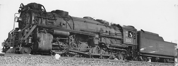 2014.022.12--pauline macdougall collection 8x10 mounted print--B&M--steam locomotive 2-10-2 3010--location unknown--no date. Built in 1920.