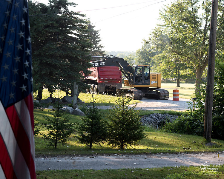 August 1, 2017:  The County Drain Commission decided to clean out and dredge our ditch this summer.  Yay, us!  Work started bright & early this morning.