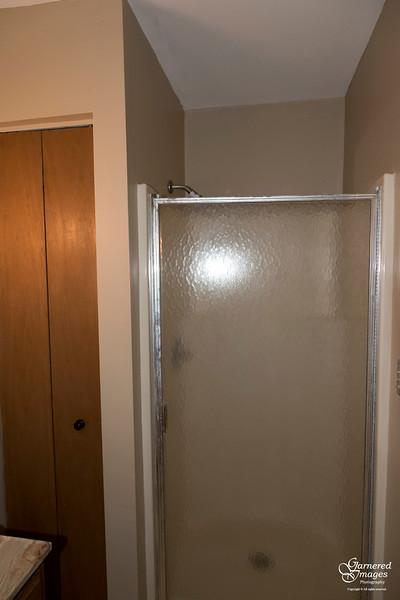 July 30, 2018:  Second floor bathroom before.  Lovely shower. Not.