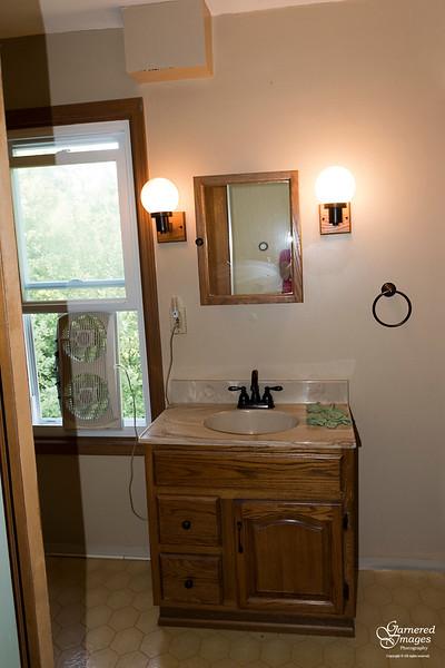 July 30, 2018:  Second floor bathroom before.  DIY with sheet vinyl floor.