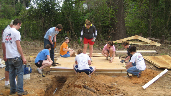 09 03-24 University of Cincinnati Student Builders group starts on storage shed. mc