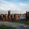 The gasworks at Gasworks Park. Sad that someone has tagged them.