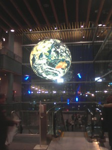 Globe  The very nice, illuminated, rotating globe in the new Vancouver Convention Center. Now if on;y the surface texture were animated and live.