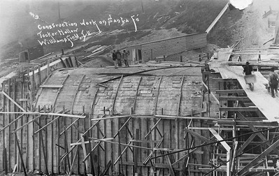 2020.017.04--david conrad collection RPPC--AT&SF--construction of concrete culvert in Tucker Hollow looking southeast--Williamsfield IL--no date
