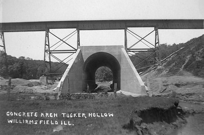 2020.017.05--david conrad collection RPPC--AT&SF--new concrete culvert in Tucker Hollow looking east from north side of track--Williamsfield IL--no date
