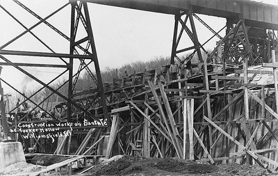 2020.017.03--david conrad collection RPPC--AT&SF--construction of concrete culvert in Tucker Hollow looking northeast--Williamsfield IL--no date