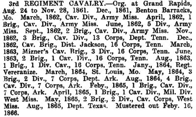 Michigan - 3rd Cavalry