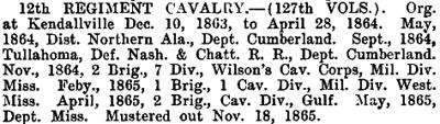 Indiana - 12th Cavalry (127th Vols)