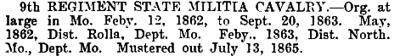 Missouri - 9th State Militia Cavalry