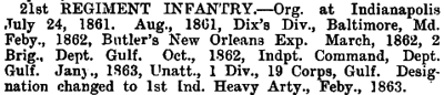 Indiana - 21st Infantry (became 1st Heavy Artillery)