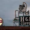 H&C Coffee and Dr Pepper neon advertising signs at dusk, Roanoke, Virginia