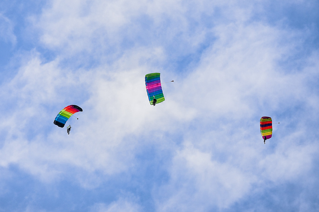 24 October 2009: Skydivers float toward the field prior to the Oklahoma Sooners 35-13 win over the Kansas Jayhawks at Memorial Stadium in Lawrence, Kansas.