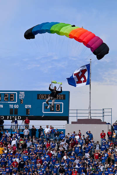 24 October 2009: A skydiver enters the stadium prior to the Oklahoma Sooners 35-13 win over the Kansas Jayhawks at Memorial Stadium in Lawrence, Kansas.