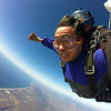 Free falling for about one minute, at a terminal velocity of approximately 135mph/220kmph
